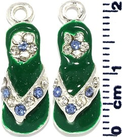 2Pcs Flip Flops Rhinestone Spacer Green Blue Clear JF310