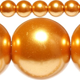 85pc 10mm Spacer Faux Pearl Orange Gold JF319