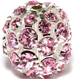 1pc Disco Ball Rhinestones 20mm Silver Tone Pink JF373