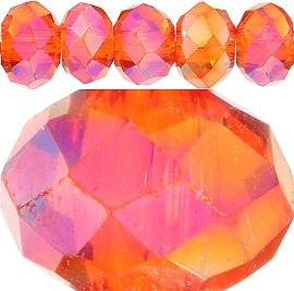 100pc 3mm Spacer Crystal Bead Orange Aura JF386