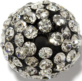 4pc 13mm Rhinestone Bead Clear W/2mm Hole JF437