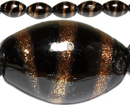 20pc 18x12mm Football Shape Glass Spacer Black Gold JF445