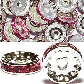 50pcs 12mm Wheel Rhinestone Spacer Magenta JF449