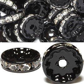50pcs 12mm Wheel Rhinestone Spacer Black Clear JF450