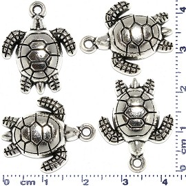4pcs Metallic Pendant Sea Turtle Spacer Silver Tone Color JF470