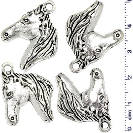 4pcs Metallic Pendant Horse Head Spacer Silver Tone Color JF472