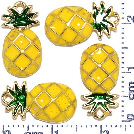 4pcs Metallic Pendant Pineapple Spacer Yellow Green Gold JF488