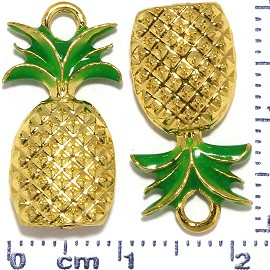2pcs Metallic Pendant Pineapple Spacer Green Gold Tone JF492