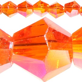 120pc 4mm Bicone Crystal Beads Orange Aura JF516