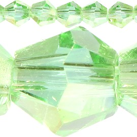 120pc 4mm Bicone Crystal Beads Light Green Aura JF518