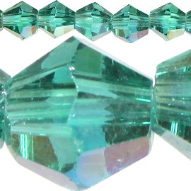 120pc 4mm Bicone Crystal Beads Forest Green Aura JF520