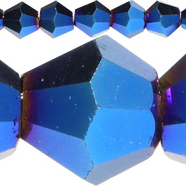 120pc 4mm Bicone Crystal Beads Solid Electric Blue JF524