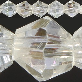 120pc 4mm Bicone Crystal Beads Clear Aura JF532