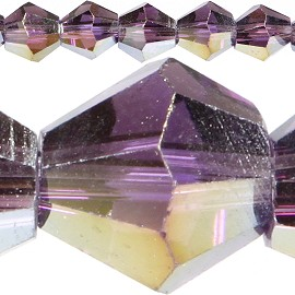 120pc 4mm Bicone Crystal Beads Purple Aura JF533