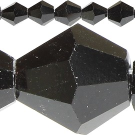 48pc 6mm Bicone Crystal Beads Black JF542