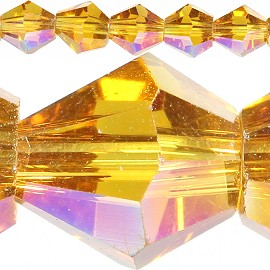 50pc 6mm Bicone Crystal Beads Gold Aura JF548