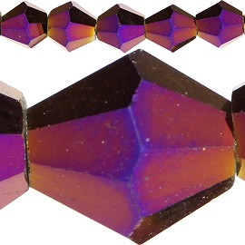 50pc 6mm Bicone Crystal Beads Solid Purple Aura JF559