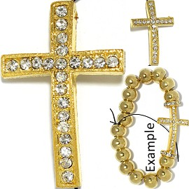 1pc 37x25x8mm Cross Rhinestone Spacer Part Gold JF582