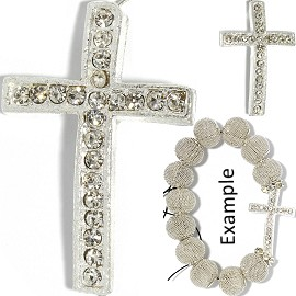 1pc Rhinestone Cross Spacer 37x25x8mm Part Silver JF583