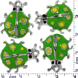 4pcs Metallic Pendant Ladybug Spacer Silver Green Yellow JF585
