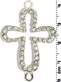 1pc 43mm Rhinestone Cross Spacer Jewelry Part Silver JF610