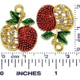 4pcs Metallic Pendant Apple Rhinestone Spacer Gold Red Gre JF675