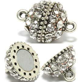 2 Pairs Magnetic End Clasps Rhinestone Ball Metallic Color JF728