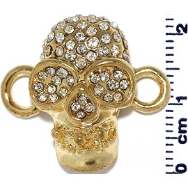 Spacer Part Rhinestone Skull Gold JF777
