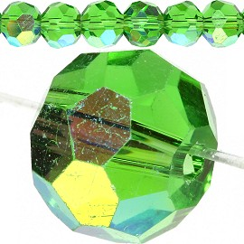 70pc Crystal Cut Bead Ball Spacer 9mm Green Aurora JF803