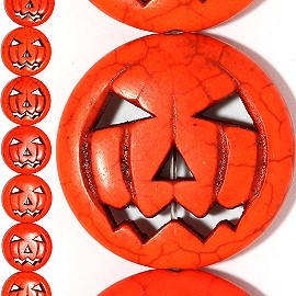 12pc 30x5mm Halloween Pumpkin Face Spacer Orange JF881
