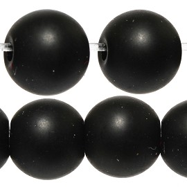 65pcs 6mm Smooth Round Bead Spacer Matte Black JF888