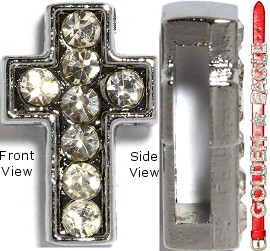 "Rhinestone Spacer 7/16"" Opening-Hole Cross Silver JF892 - Click Image to Close"
