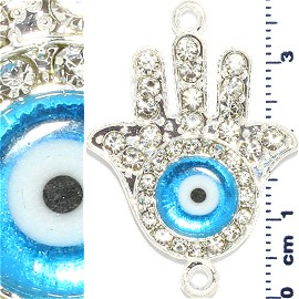 Rhinestone Spacer Hand or Bell Eye 38x28x6mm Silver JF906