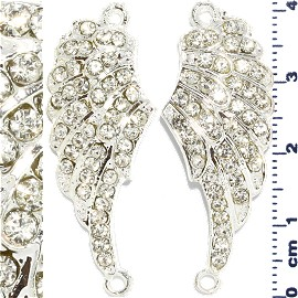 2pc Rhinestone Spacer Angel Wings 41x16x3mm Silver JF911