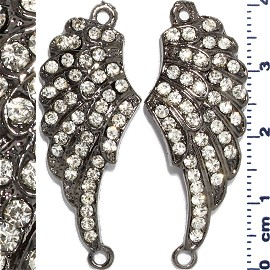 2pc Rhinestone Spacer Angel Wings 41x16x3mm Black JF913