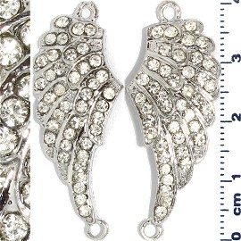 2pc Rhinestone Spacer Angel Wings 41x16x3mm Light Gray JF914
