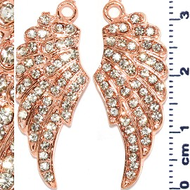 2pc Rhinestone Spacer Angel Wings 34x14x3mm Copper JF916