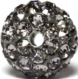 1pc 10mm Rhinestone Bead Spacer Gray Dark W/1.5mm Hole JF923