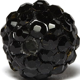 1pc 10mm Rhinestone Bead Spacer Black W/1.5mm Hole JF924