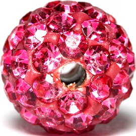 4pc 10mm Rhinestone Bead Spacer Magenta w/1.5mm Hole JF933