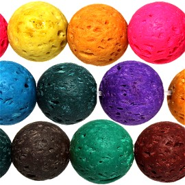 38pcs 10mm Lava Beads Spacers Porous Matte Mix Colors JF943