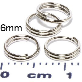 100pc 6mm Circle Key Chain Split Ring Connector Silver JF952