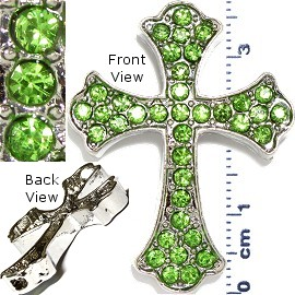 1pc Cross Rhinestone Spacer Green JF975