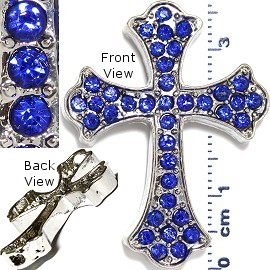 1pc Cross Rhinestone Spacer Blue JF976