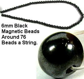 4mm Black Hematite Magnetic Beads on Spacers JM-47