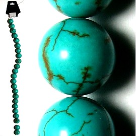 30pc 12mm Earth Stone Bead Spacer Turquoise JM-78
