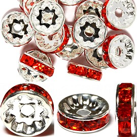 15pc 10mm Rhinestone Wheel Silver Orange JP000