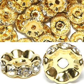 50pc 10mm Rondelles Rhinestone Spacer Gold Clear JP012