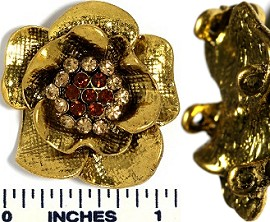 Metallic Rhinestone Spacer Flower Gold JP017