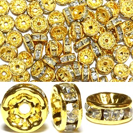 100pc 8mm Rhinestone Wheel Gold Clear JP056K
